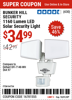 Harbor Freight Tools Coupons, Harbor Freight Coupon, HF Coupons-BUNKER HILL SECURITY 1160 Lumen LED Solar Security Light for $34.99