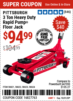 Harbor Freight Tools Coupons, Harbor Freight Coupon, HF Coupons-PITTSBURGH AUTOMOTIVE 3 Ton Steel Heavy Duty Floor Jack With Rapid Pump for $94.99