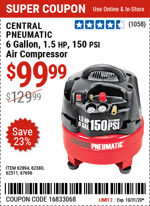 Harbor Freight Tools Coupons, Harbor Freight Coupon, HF Coupons-CENTRAL PNEUMATIC 6 gallon 1.5 HP 150 PSI Professional Air Compressor for $99.99
