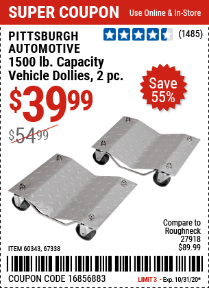 Harbor Freight Tools Coupons, Harbor Freight Coupon, HF Coupons-PITTSBURGH AUTOMOTIVE 1500 lb. Capacity Vehicle Dollies 2 Pc for $39.99