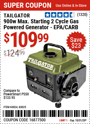 Harbor Freight Tools Coupons, Harbor Freight Coupon, HF Coupons-TAILGATOR 900 Watt Max Starting 2 Cycle Gas Powered Generator for $109.99