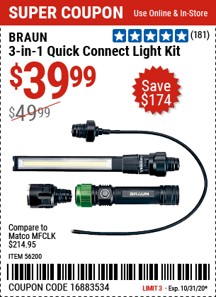 Harbor Freight Tools Coupons, Harbor Freight Coupon, HF Coupons-BRAUN 3-in-1 Quick Connect Light Kit for $39.99
