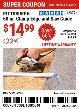 Harbor Freight Tools Coupons, Harbor Freight Coupon, HF Coupons-PITTSBURGH 50 In. Clamp Edge and Saw Guide for $14.99