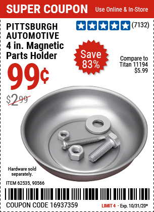 Harbor Freight Tools Coupons, Harbor Freight Coupon, HF Coupons-PITTSBURGH AUTOMOTIVE 4 in. Magnetic Parts Holder for $0.99