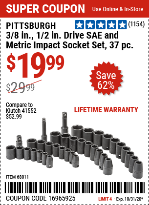 Harbor Freight Tools Coupons, Harbor Freight Coupon, HF Coupons-PITTSBURGH 3/8 in. 1/2 in. Drive SAE & Metric Impact Socket Set 37 Pc. for $19.99