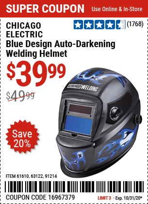 Harbor Freight Tools Coupons, Harbor Freight Coupon, HF Coupons-CHICAGO ELECTRIC Blue Design Auto Darkening Welding Helmet for $39.99