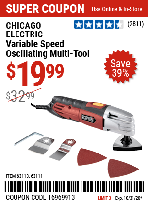 Harbor Freight Tools Coupons, Harbor Freight Coupon, HF Coupons-CHICAGO ELECTRIC Variable Speed Oscillating Multi-Tool for $19.99