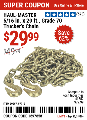 Harbor Freight Tools Coupons, Harbor Freight Coupon, HF Coupons-HAUL-MASTER 5/16 in. x 20 ft. Grade 70 Trucker's Chain for $29.99