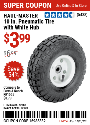 Harbor Freight Tools Coupons, Harbor Freight Coupon, HF Coupons-HAUL-MASTER 10 in. Pneumatic Tire with White Hub for $3.99