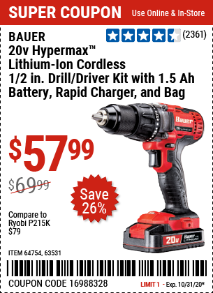 Harbor Freight Tools Coupons, Harbor Freight Coupon, HF Coupons-BAUER 20V Hypermax Lithium 1/2 In. Drill/Driver Kit for $57.99