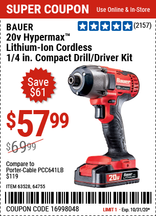 Harbor Freight Tools Coupons, Harbor Freight Coupon, HF Coupons-BAUER 20V Hypermax Lithium 1/4 In. Hex Compact Impact Driver Kit for $57.99