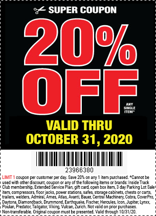 Harbor Freight Tools Coupons, Harbor Freight Coupon, HF Coupons-20% Off Any Single Item at Harbor Freight through October 31, 2020