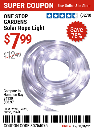 Harbor Freight Tools Coupons, Harbor Freight Coupon, HF Coupons-ONE STOP GARDENS Solar Rope Light for $7.99