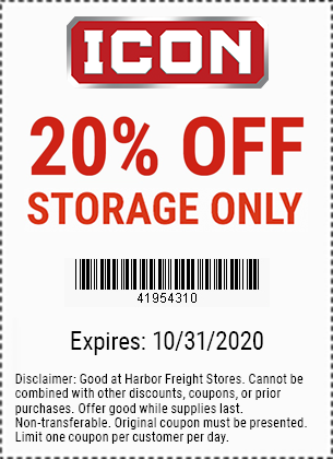 Harbor Freight Tools Coupons, Harbor Freight Coupon, HF Coupons-20% Off ICON Storage - Valid through 10/31/20