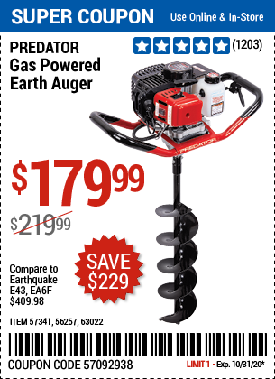Harbor Freight Tools Coupons, Harbor Freight Coupon, HF Coupons-PREDATOR Gas Powered Earth Auger for $179.99