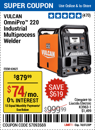 Harbor Freight Tools Coupons, Harbor Freight Coupon, HF Coupons-VULCAN OmniPro 220 Industrial Multiprocess Welder With 120/240 Volt Input for $879.99