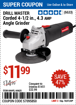 Harbor Freight Tools Coupons, Harbor Freight Coupon, HF Coupons-DRILL MASTER 4-1/2 In. 4.3 Amp Angle Grinder for $11.99