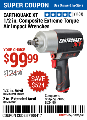 Harbor Freight Tools Coupons, Harbor Freight Coupon, HF Coupons-EARTHQUAKE XT 1/2 in. Composite Xtreme Torque Air Impact Wrench for $99.99