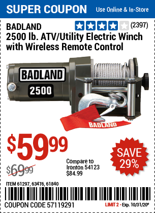 Harbor Freight Tools Coupons, Harbor Freight Coupon, HF Coupons-BADLAND 2500 lb. ATV/Utility Winch for $59.99