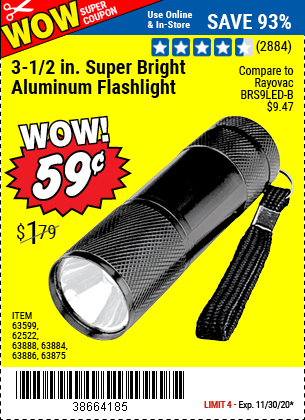 Harbor Freight Tools Coupons, Harbor Freight Coupon, HF Coupons-WOW! 3-1/2 In. LED Mini Flashlight for 59¢ through 11/30