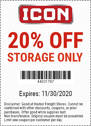 Harbor Freight Tools Coupons, Harbor Freight Coupon, HF Coupons-20% Off ICON Storage - Valid through 11/30/20