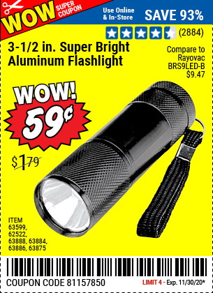 Harbor Freight Tools Coupons, Harbor Freight Coupon, HF Coupons-3-1/2 In. LED Mini Flashlight for $0.59