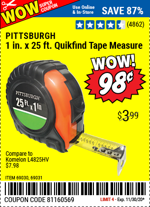 Harbor Freight Tools Coupons, Harbor Freight Coupon, HF Coupons-PITTSBURGH 25 ft. x 1 in. QuikFind Tape Measure with ABS Casing for $0.98