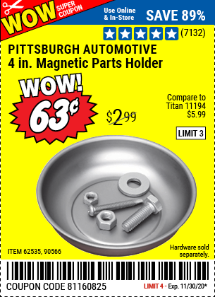 Harbor Freight Tools Coupons, Harbor Freight Coupon, HF Coupons-PITTSBURGH AUTOMOTIVE 4 in. Magnetic Parts Holder for $0.63