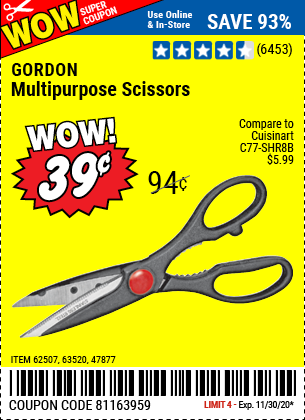 Harbor Freight Tools Coupons, Harbor Freight Coupon, HF Coupons-GORDON Multipurpose Scissors for $0.39