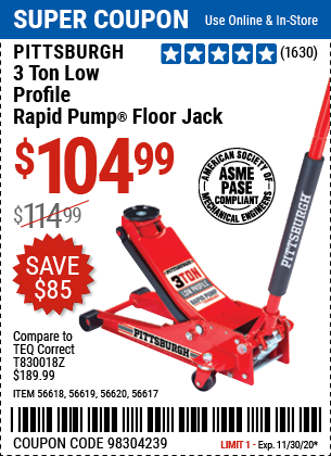 Harbor Freight Tools Coupons, Harbor Freight Coupon, HF Coupons-PITTSBURGH AUTOMOTIVE 3 Ton Low Profile Steel Heavy Duty Floor Jack With Rapid Pump for $104.99