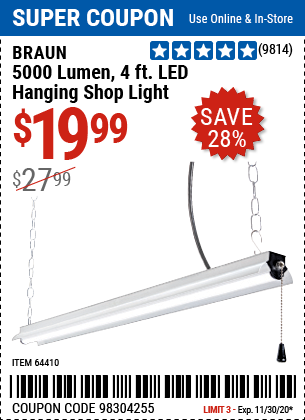 Harbor Freight Tools Coupons, Harbor Freight Coupon, HF Coupons-BRAUN 4 Ft. LED Hanging Shop Light for $19.99