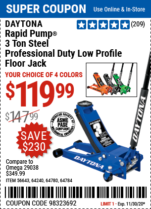 Harbor Freight Tools Coupons, Harbor Freight Coupon, HF Coupons-DAYTONA 3 Ton Low Profile Professional Rapid Pump® Floor Jack for $119.99