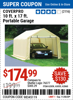 Harbor Freight Tools Coupons, Harbor Freight Coupon, HF Coupons-COVERPRO 10 Ft. X 17 Ft. Portable Garage for $174.99
