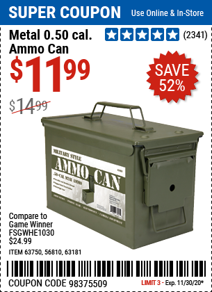 Harbor Freight Tools Coupons, Harbor Freight Coupon, HF Coupons-.50 Cal Metal Ammo Can for $11.99