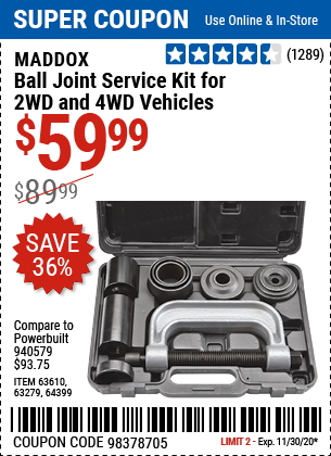 Harbor Freight Tools Coupons, Harbor Freight Coupon, HF Coupons-MADDOX Ball Joint Service Kit For 2WD And 4WD Vehicles for $59.99