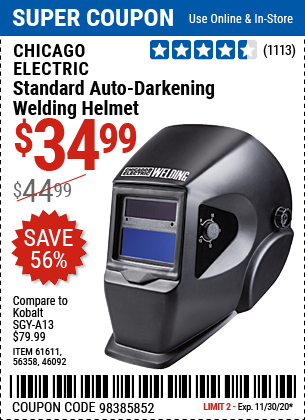 Harbor Freight Tools Coupons, Harbor Freight Coupon, HF Coupons-CHICAGO ELECTRIC Standard Auto Darkening Welding Helmet for $34.99