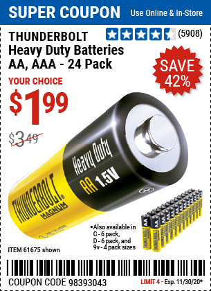 Harbor Freight Tools Coupons, Harbor Freight Coupon, HF Coupons-THUNDERBOLT Heavy Duty Batteries for $1.99
