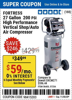 Harbor Freight Tools Coupons, Harbor Freight Coupon, HF Coupons-FORTRESS 27 Gallon 200 PSI Oil-Free Professional Air Compressor for $349.99