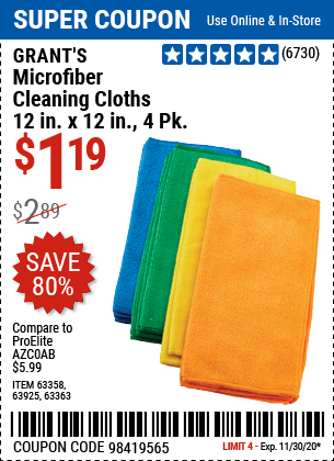 Harbor Freight Tools Coupons, Harbor Freight Coupon, HF Coupons-GRANT'S Microfiber Cleaning Cloth 12 in. x 12 in. 4 Pk. for $1.19