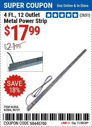 Harbor Freight Tools Coupons, Harbor Freight Coupon, HF Coupons-HFT 12 Outlet 4 ft. Metal Power Strip for $17.99