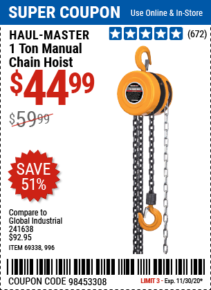 Harbor Freight Tools Coupons, Harbor Freight Coupon, HF Coupons-HAUL-MASTER 1 Ton Manual Chain Hoist for $44.99