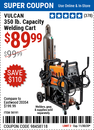 Harbor Freight Tools Coupons, Harbor Freight Coupon, HF Coupons-VULCAN 350 lbs. Capacity Welding Cart for $89.99