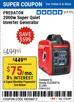 Harbor Freight Tools Coupons, Harbor Freight Coupon, HF Coupons-PREDATOR GENERATORS 2000 Watt Super Quiet Inverter Generator for $449.99