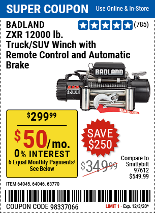 Harbor Freight Tools Coupons, Harbor Freight Coupon, HF Coupons-BADLAND 12000 Lbs. Off-Road Vehicle Electric Winch With Automatic Load-Holding Brake for $299.99