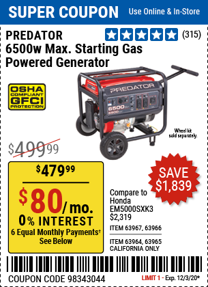 Harbor Freight Tools Coupons, Harbor Freight Coupon, HF Coupons-PREDATOR 6500 Watt Max Starting Gas Powered Generator for $479.99