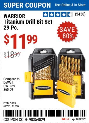 Harbor Freight Tools Coupons, Harbor Freight Coupon, HF Coupons-WARRIOR Titanium Drill Bit Set 29 Pc for $11.99