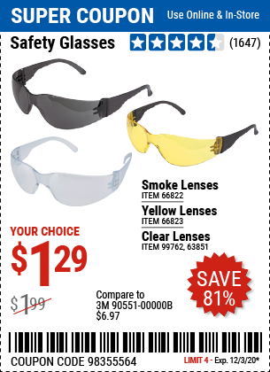 Harbor Freight Tools Coupons, Harbor Freight Coupon, HF Coupons-WESTERN SAFETY Safety Glasses with Smoke Lenses for $1.29