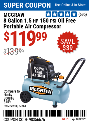 Harbor Freight Tools Coupons, Harbor Freight Coupon, HF Coupons-MCGRAW 8 gallon 1.5 HP 150 PSI Oil-Free Portable Air Compressor for $119.99