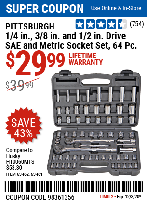 Harbor Freight Tools Coupons, Harbor Freight Coupon, HF Coupons-PITTSBURGH 64 Pc 1/4 in. 3/8 in. 1/2 in. Drive SAE & Metric Socket Set for $29.99