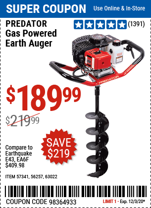 Harbor Freight Tools Coupons, Harbor Freight Coupon, HF Coupons-PREDATOR Gas Powered Earth Auger for $189.99